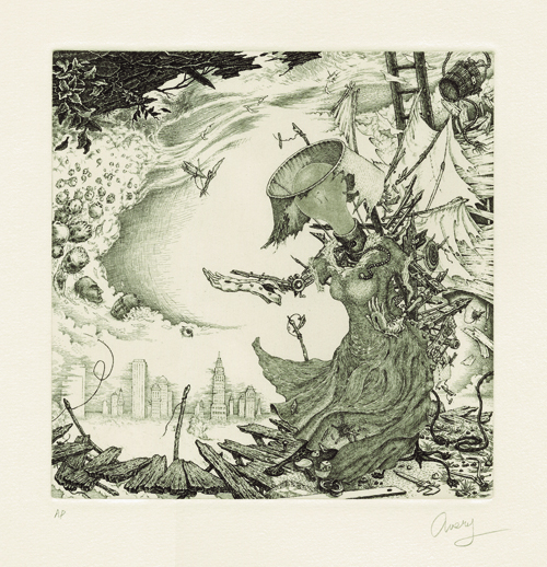 David Avery  Tempestuous Muse  2010 Etching 7 x 7 inches