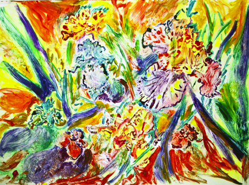 Aimee Hertog  Yellow, Orange, Green , 2010 Monoprint 21 x 29 inches