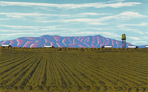 Anthony Lazorko, Jr.  Next exit- Mickey D's , 2009 Color woodcut 10.75 x 18 inches