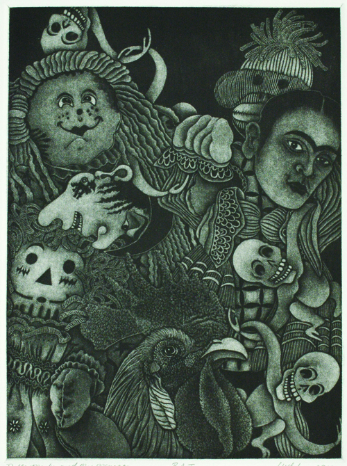 Linda Whitney  Masks, Memories and My Minorca , 2010 Mezzotint 12 x 9 inches