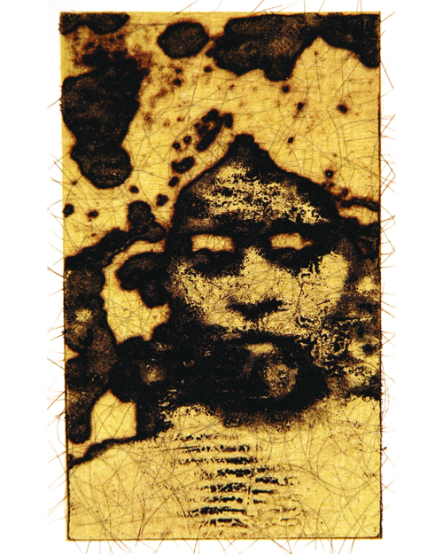 Shelley Gipson  Decima Nona Atropos , 2009 Intaglio with chine collé and hair 5 x 3 inches