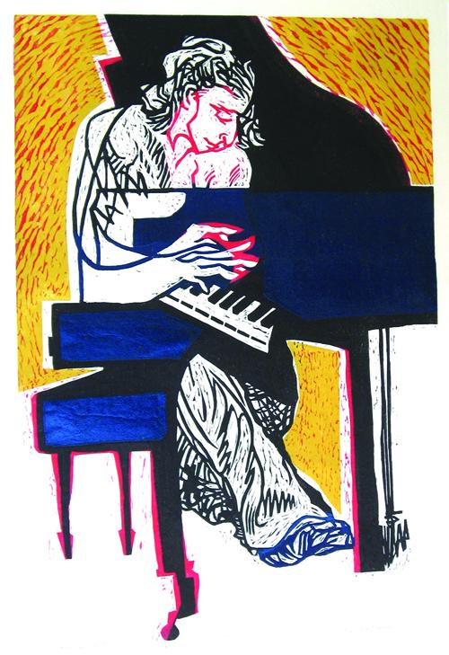Stan Kaplan  Piano Sonata , 2008 Linocut 18 x 12 inches