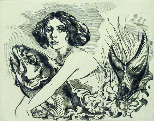 Richie Lasansky  Fish Girl , 2009 Engraving 8 x 10 inches