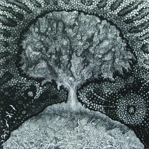 Richard Sloat  Tree of Life S XV , 1972-2009 Aquatint etching 17 x 17 inches