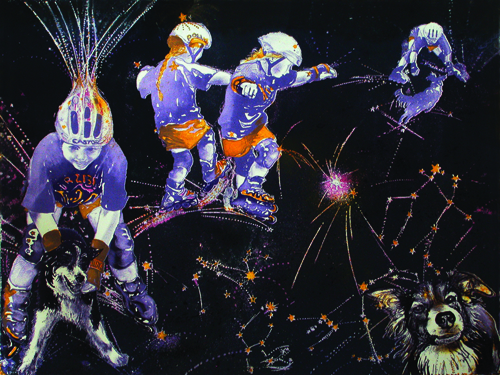 Caroline Thorington  Castor & Pollux get Sirius , 2009 Lithograph 16.5 x 21.5 inches