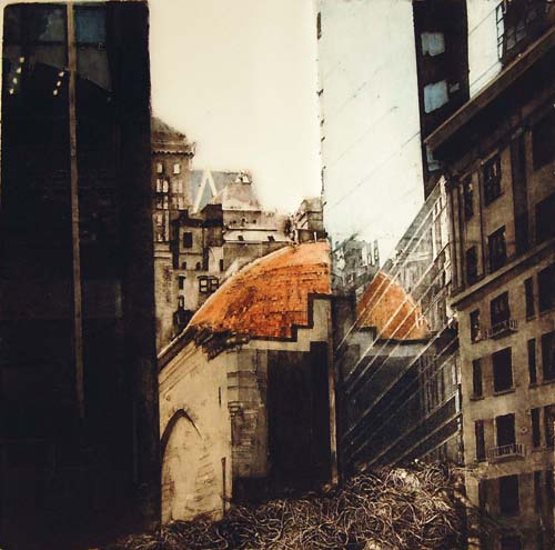 Grace Bentley-Scheck  City Center Harmony , 2007 Collagraph with silk aquatint 12.25 x 12.375 inches