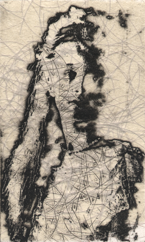 Shelley Gipson  Jale , 2008 Intaglio, chine collé and hair 5 x 7 inches