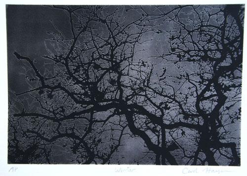 Carol Hayman  Winter , 2008 Polymer plate intaglio 7 x 9 inches