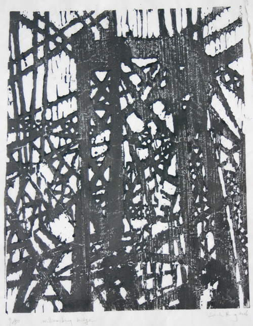 Su-Li Hung  Williamsburg Bridge , 2006 Woodcut 16 x 13 inches