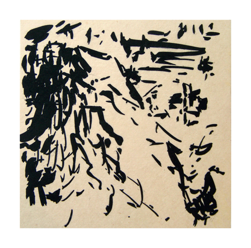 K. King  Sienese mountains , 2008 Lithograph and chine collé 5.5 x 5.5 inches