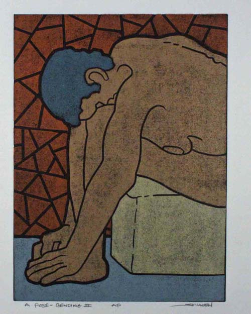 James Mullen  A Pose-Bending II , 2008 Color linocut 9 x 12 inches