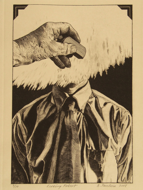 Brian Paulsen  Erasing Robert , 2008 Drypoint and engraving 13.125 x 8.75 inches