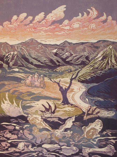 Dennis Revitzky  Landscape With Bones II , 2008 Linocut monoprint