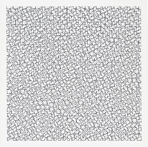 John Salvest  Scrambled L , 2008 Rubber stamp 7.5 x 7.5 inches