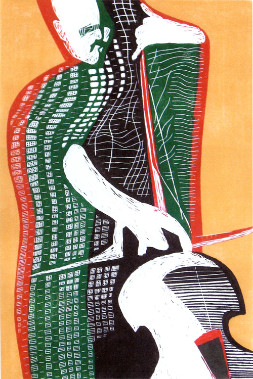 Stan Kaplan  Bass Player , 2007 Linocut 18 x 12 inches