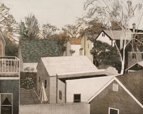 Linda Adato  View from the Back Porch , 2007 color etching, aquatint and soft ground 15 7/8 x 19 ½ inches