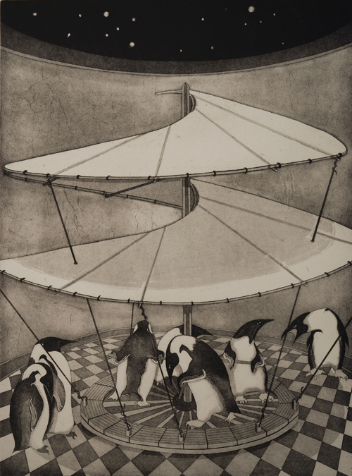 Deborah Bryan  The Penguin Corps Making Maximum Tactical Use of da Vinci's , 2006 intaglio/air screw   24 x 18 inches