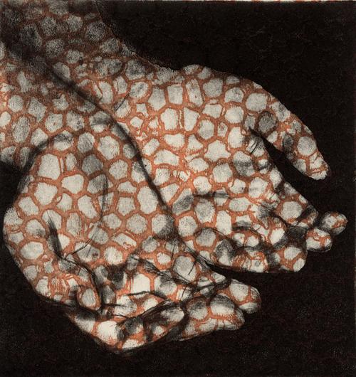 Liz Chalfin  Bodhisattva's Alms , 2007 copper etching, spit bite, photo polymer intaglio