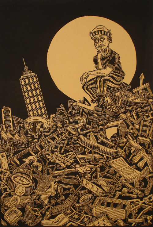 John Gall  Seeker Studying Failed Knowledge , 2007 linocut w/collaged colle  18 x 12 inches