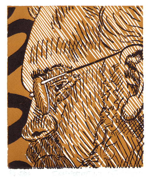 R. J. Gray Jr.   Self-Portrait 1.2 , 2006 2-block relief  4.875 x 4 inches