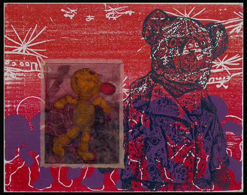 Sheri Fleck Rieth  Child's Power Play , 2005< builder's foam relief, woodcut, collagraph, etching, wax & thread 11 x 14 inches