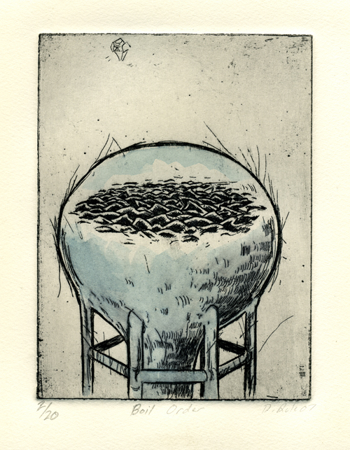 Dan Rule  Boil Order , 2007 Intaglio with watercolor 4 ½ x 6 inches