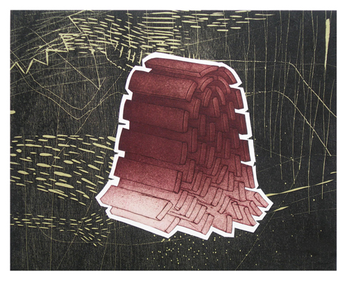 Jon Swindler  Malleable Structure #3 , 2007 etching, relief w/chine colle 8 x 10 inches