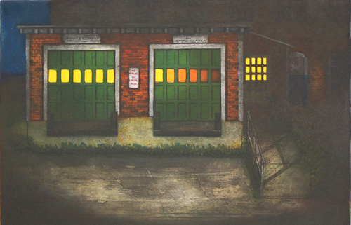 Mary Teichman  After Hours , 2006 color etching  11 ¾ x 17 inches
