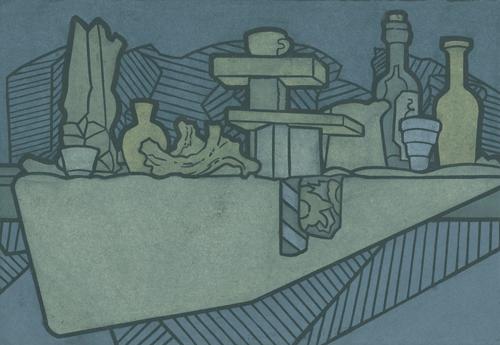 James Mullen  Nightshelf , 2005 color linocut 16 x 14.5 inches