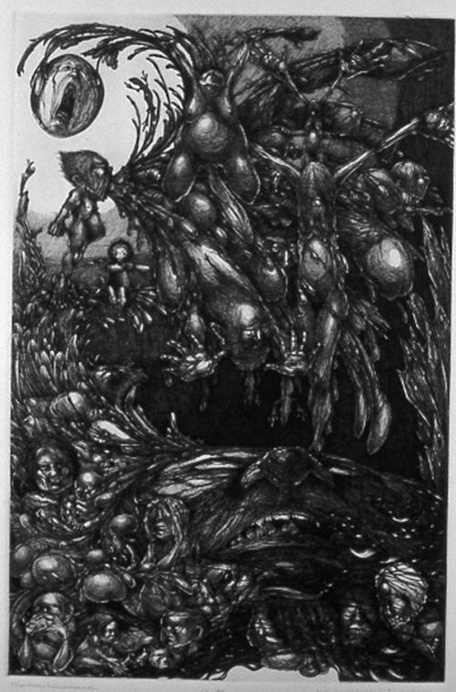 Kore Loy Wildrekinde-McWhirter   hilaritarre / halleluhneinne , 2006 line etching 12 x 18 inches