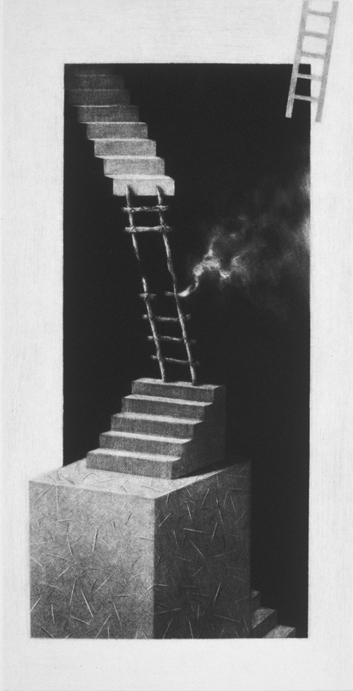 Donald Furst  Faith Helix , 2005 mezzotint 14.5 x 7.25 inches