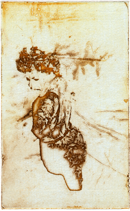 Shelley Gipson  Siren , 2005 intaglio with chine collé 5 x 3 inches
