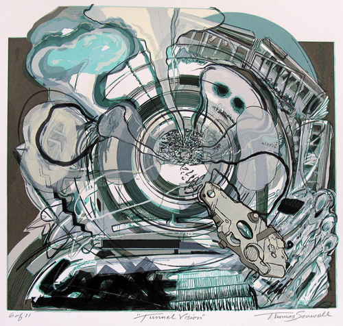 Thomas Seawell  Tunnel Vision , 2006 serigraph 10.75 x 11.5 inches