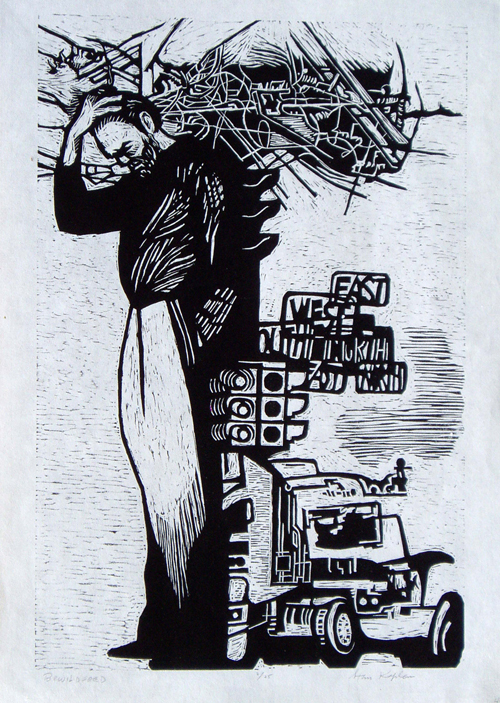 Stan Kaplan  Bewildered , 2005 relief print 18 x 12 inches
