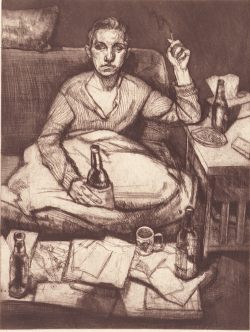 Brian Kreydatus  Angela at home , 2006 etching 24 x 18 inches