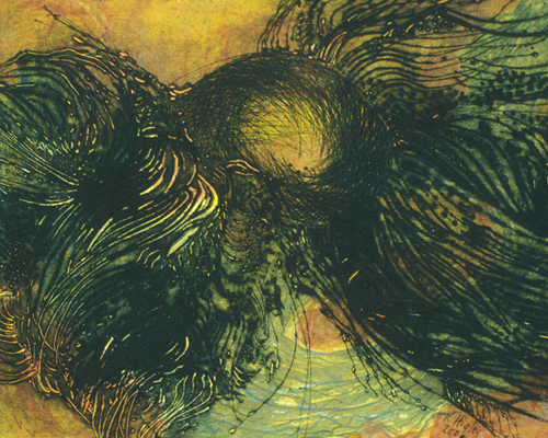 Kate Higley  Sphere Emerging , 2004 monoprint with drypoint 7 x 9 inches