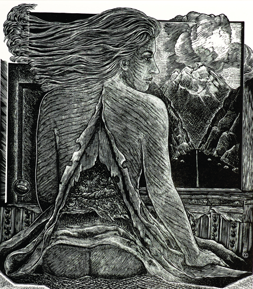 Judith Jaidinger  How Soft This Prison , 2004 Wood engraving