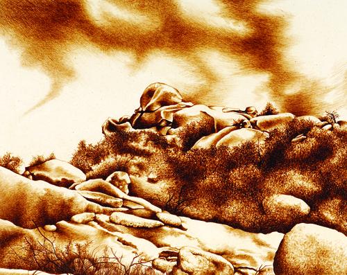 Katherine Liontas-Warren  Awakened Boulders , 2004 Solar intaglio