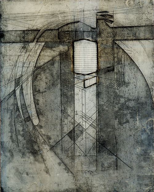 Bret Hanson  Standing Inside of a Machine Etching  Collagraph and chine collé