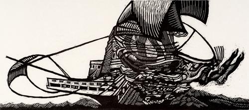 Stan Kaplan  Slave Ship  Relief print