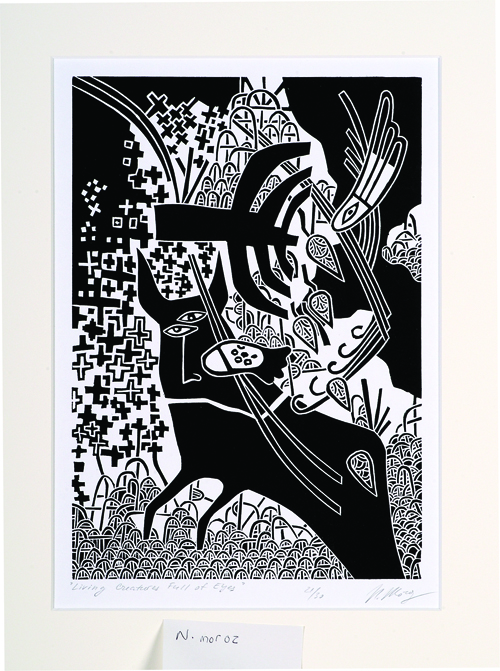 Natalia Moroz  Living Creatures Full of Eyes  Linocut