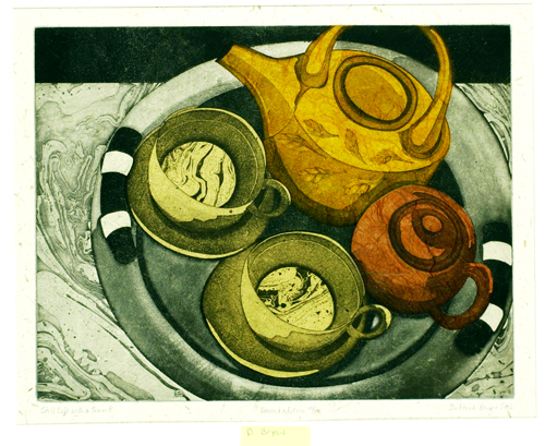 Deborah Bryan  Still Life With Tea Set  Intaglio, chine collé