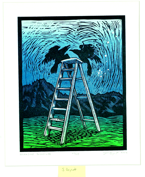 Jim Bryant  Releasing Brünhilde  Woodblock