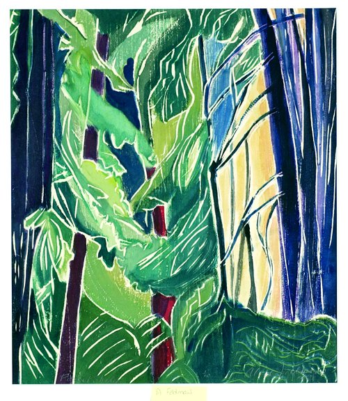 Aline Feldman  Forest Shades  White-line woodcut
