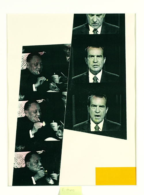 Frances Myers  Deng Smokes; Nixon Talks  Laser print, paint, collage
