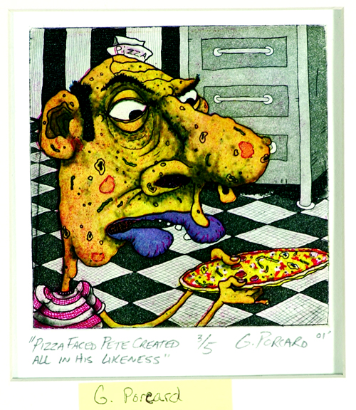 Gregory Porcaro  Pizza Faced Pete Created All In His Likeness  Color intaglio