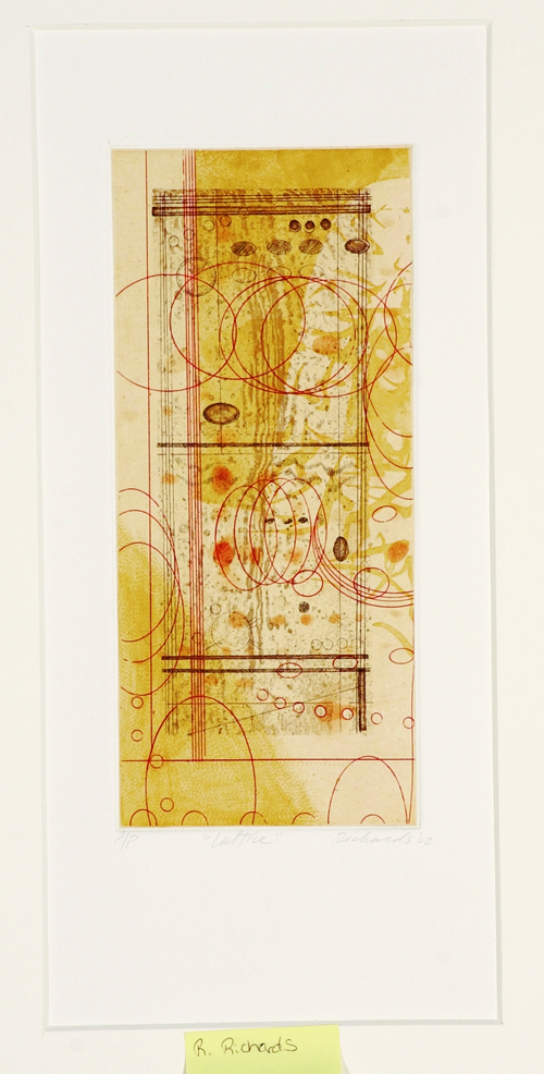 Rosalyn Richards  Lattice  Etching, chine collé