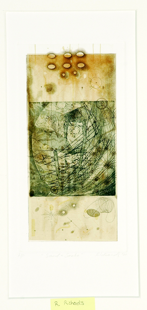 Rosalyn Richards  Sand & Smoke  Etching, chine collé