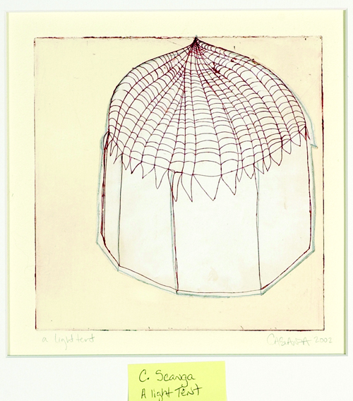 Carrie Scanga  A light tent  Etching, chine collé