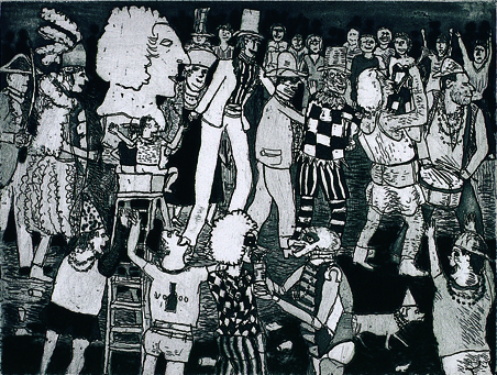 Warrington Colescott  Parade into the Quarter  Etching
